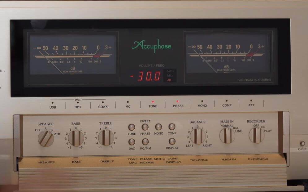 Accuphase E480 amplifier control panel