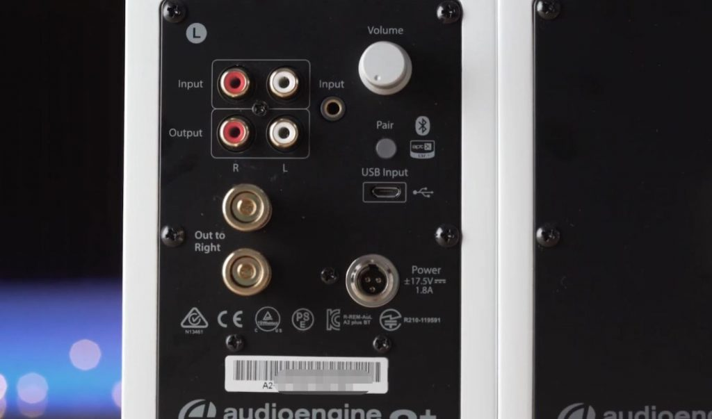 Audioengine A2+ wireless desktop computer speaker connection